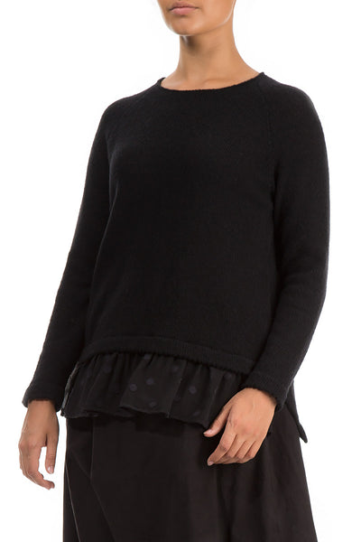 Silk Hem Black Wool Sweater