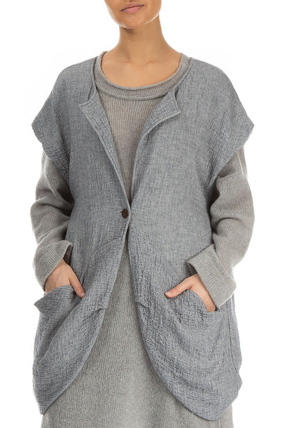 Single Button Loose Wool Waistcoat