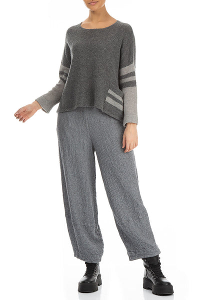 Single Pocket Stripy Grey Wool Sweater
