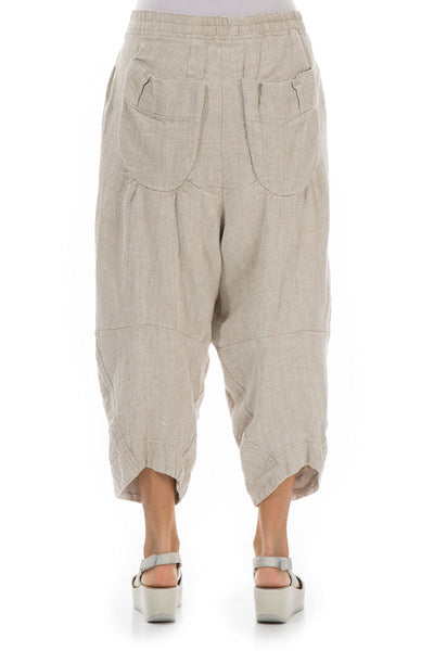 Six Pockets Natural Linen Trousers