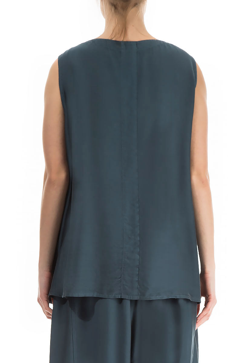 Sleeveless Brass Blue Silk Bamboo Blouse