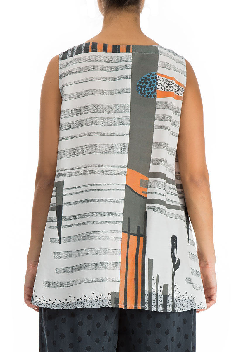 Sleeveless Modern Print Silk Bamboo Blouse