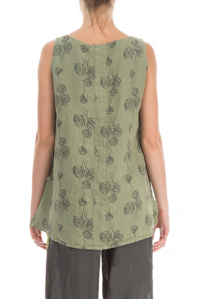Sleeveless Roses Print Khaki Linen Top - GRIZAS | Natural Contemporary Womenswear