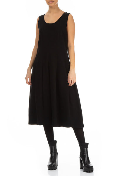 Sleeveless Balloon Black Cotton Jersey Dress