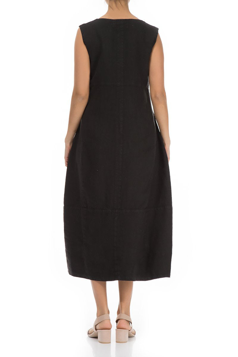 Sleeveless Balloon Black Linen Dress