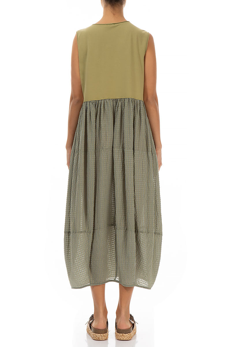 Sleeveless Balloon Olive Silk Cotton Dress