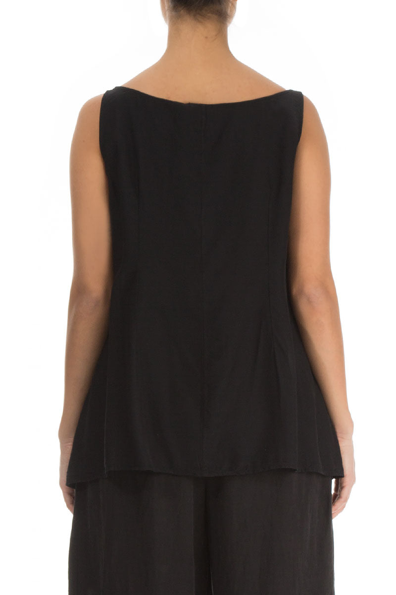Sleeveless Black Silk Bamboo Top
