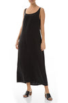 Sleeveless Black Silk Maxi Dress