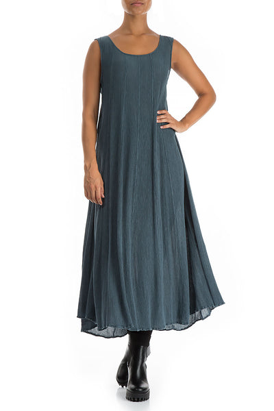 Sleeveless Brass Blue Silk Viscose Dress