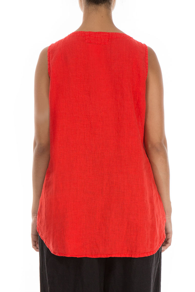Sleeveless Bright Red Linen Top