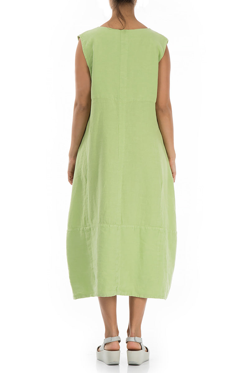 Sleeveless Balloon Lime Linen Dress - GRIZAS | Natural Contemporary Womenswear