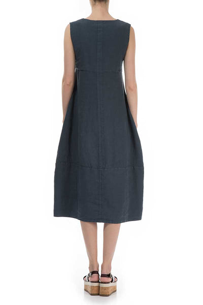 Sleeveless Charcoal Linen Dress