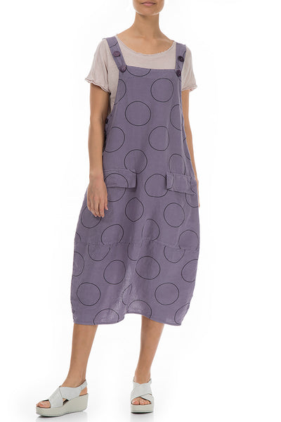 Sleeveless Circles Print Linen Overall Dress - GRIZAS | Natural Contemporary Womenswear