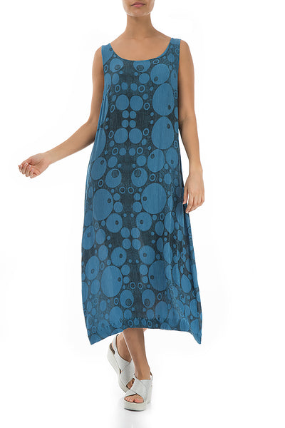Sleeveless Circles Print Ocean Blue Viscose Dress