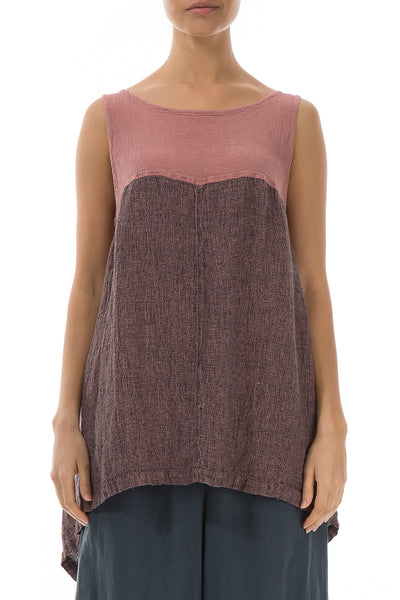Sleeveless Dual Dust Pink Linen Blouse