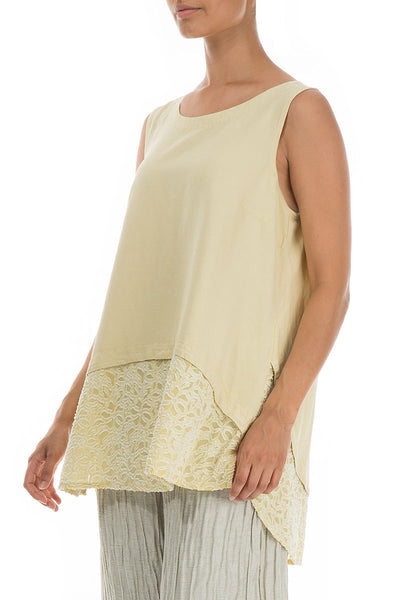 Sleeveless Floral Décor Banana Silk Blouse