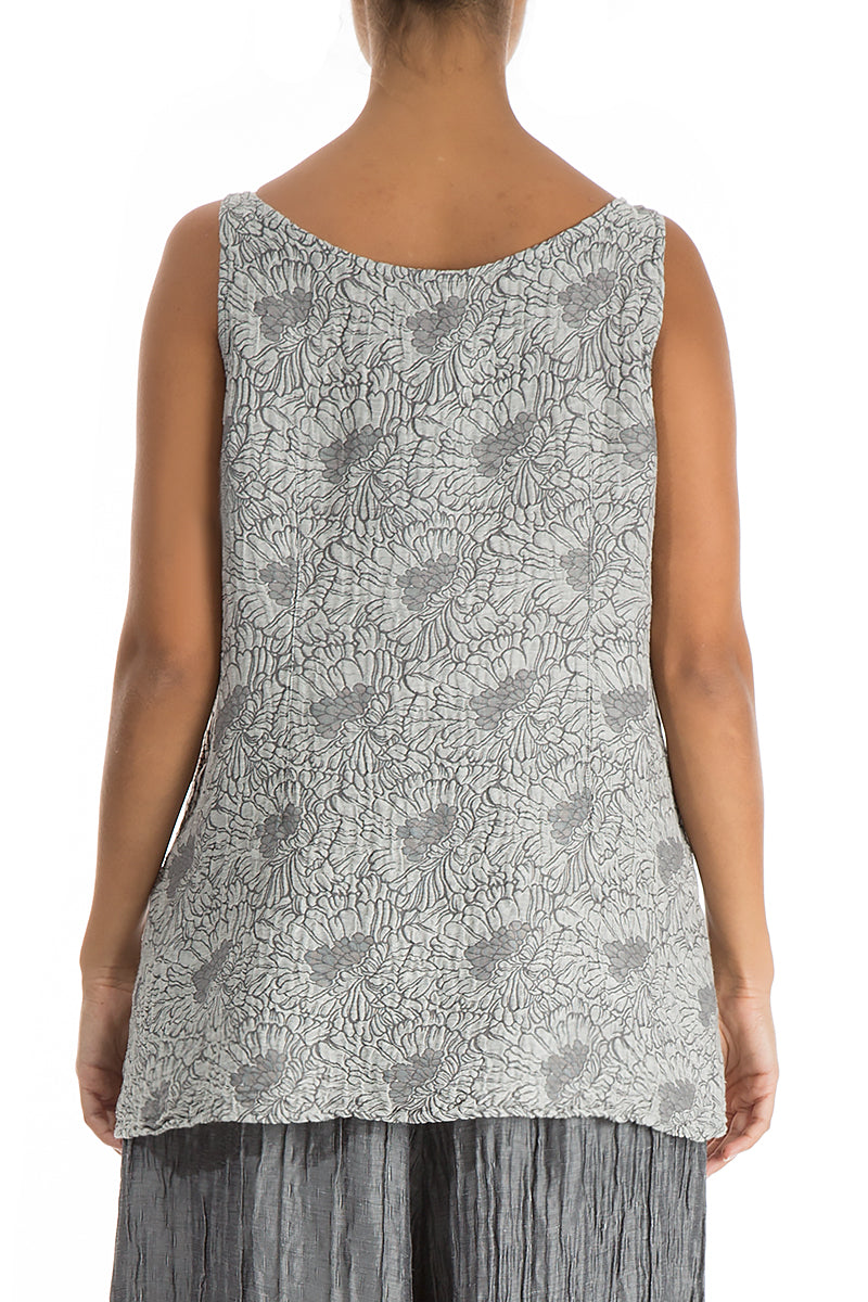 Sleeveless Floral Silver Silk Top