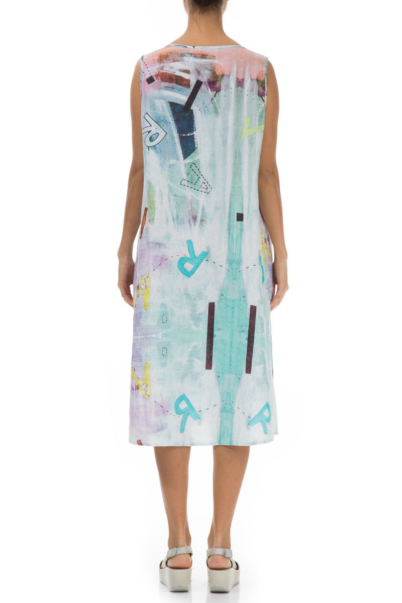 Four Buttons Sleeveless Graffiti Linen Dress