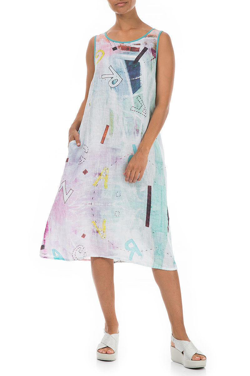Sleeveless Graffiti Linen Dress