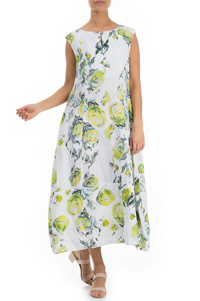 Sleeveless Lime Rose Print Linen Dress