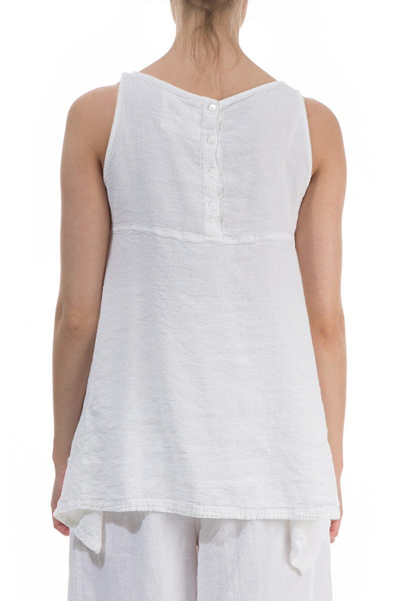 Sleeveless Longer Back White Linen Blouse