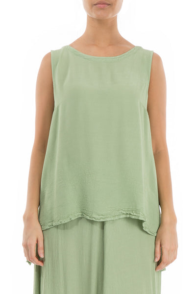 Sleeveless Mint Viscose Top - GRIZAS | Natural Contemporary Womenswear