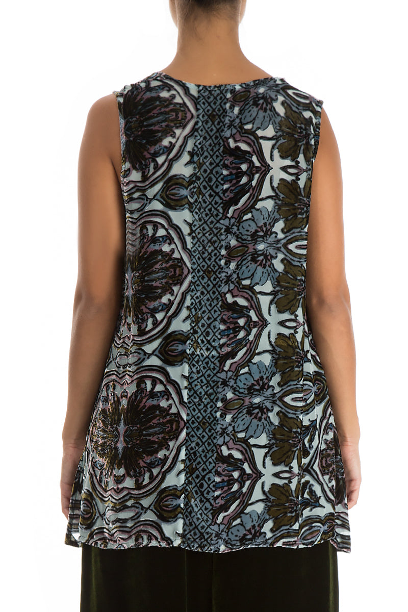 Sleeveless Ornamented Silk Velvet Blouse