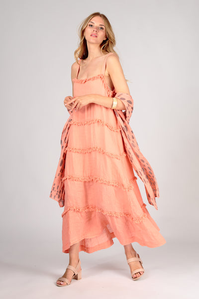 Sleeveless Ruffled Coral Linen Dress