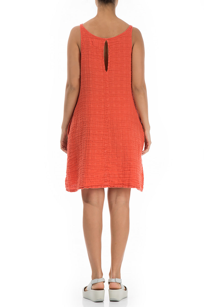 Sleeveless Textured New Orange Linen Dress - GRIZAS | Natural Contemporary Womenswear