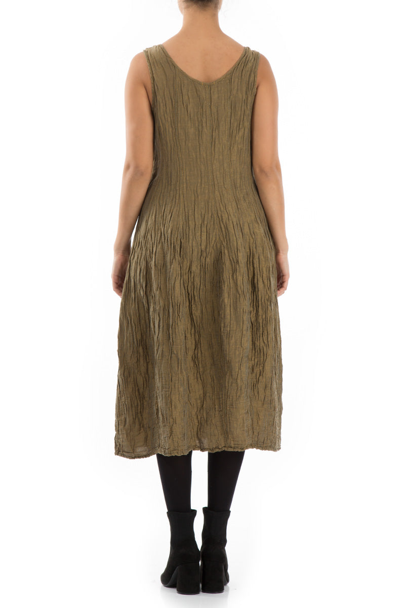 Sleeveless Balloon Light Khaki Dress - GRIZAS | Natural Contemporary Womenswear