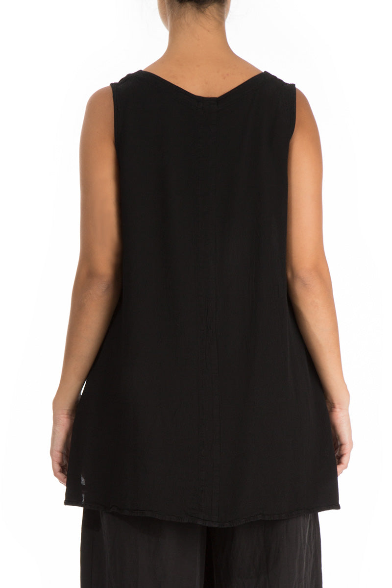 Sleeveless Black Viscose Top