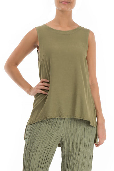Sleeveless Khaki Viscose Top - GRIZAS | Natural Contemporary Womenswear