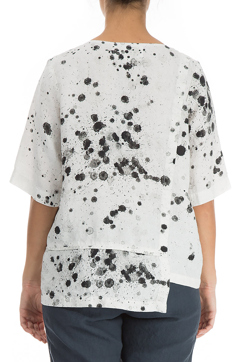 Splash Print Off White Linen Blouse