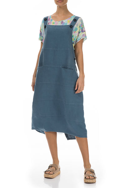 Steel Blue Linen Overall Dress