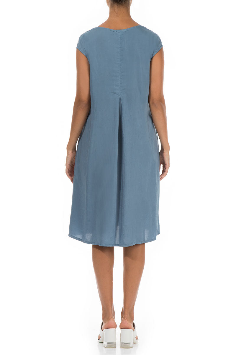 Steel Blue Silk Bamboo Shift Dress