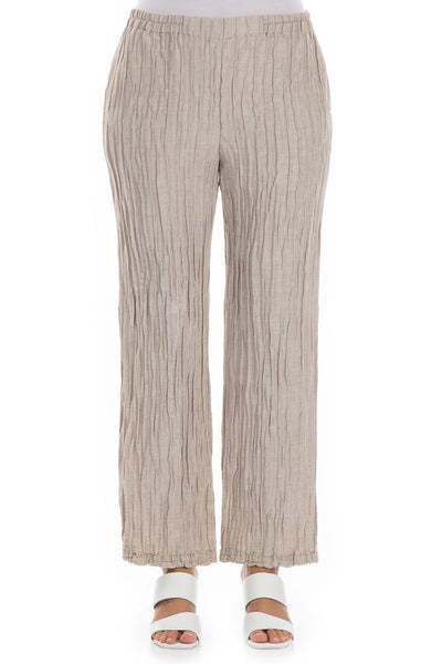 Straight Crinkled Cappuccino Trousers