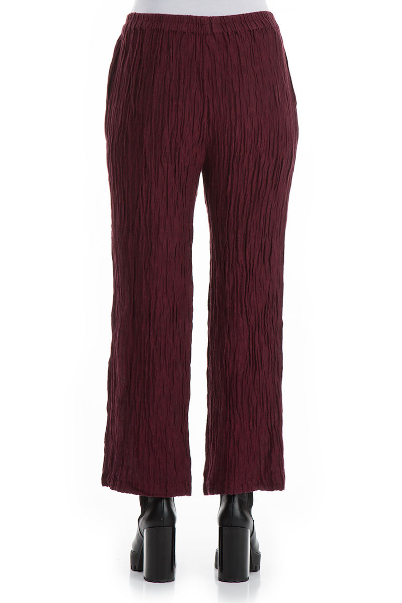 Straight Crinkled Wine Trousers