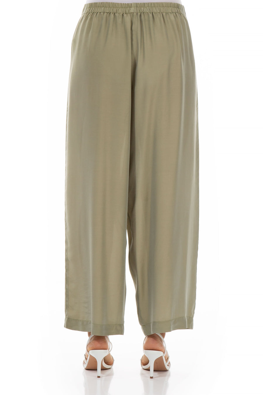 Straight Light Khaki Silk Bamboo Trousers