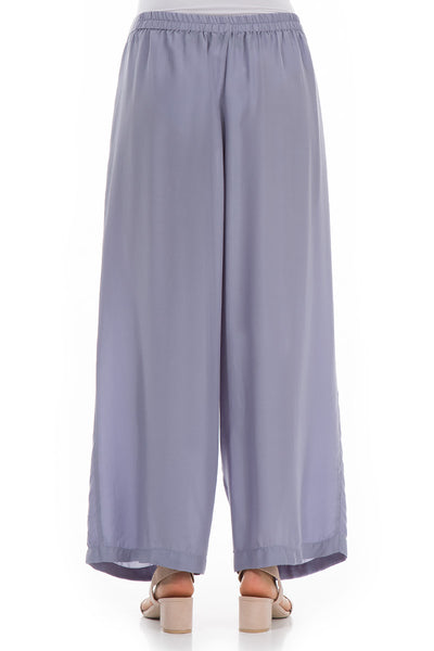 Straight Violet Tulip Silk Bamboo Trousers