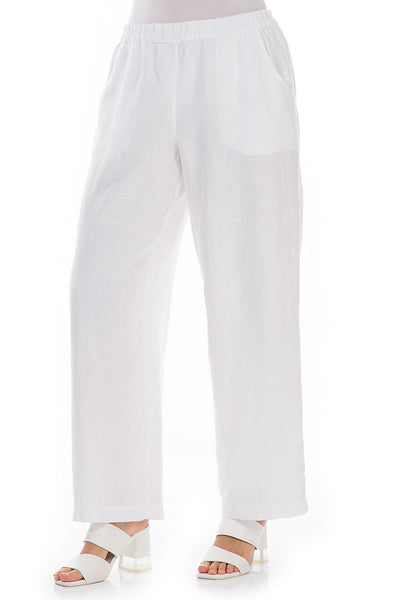Straight White Linen Trousers