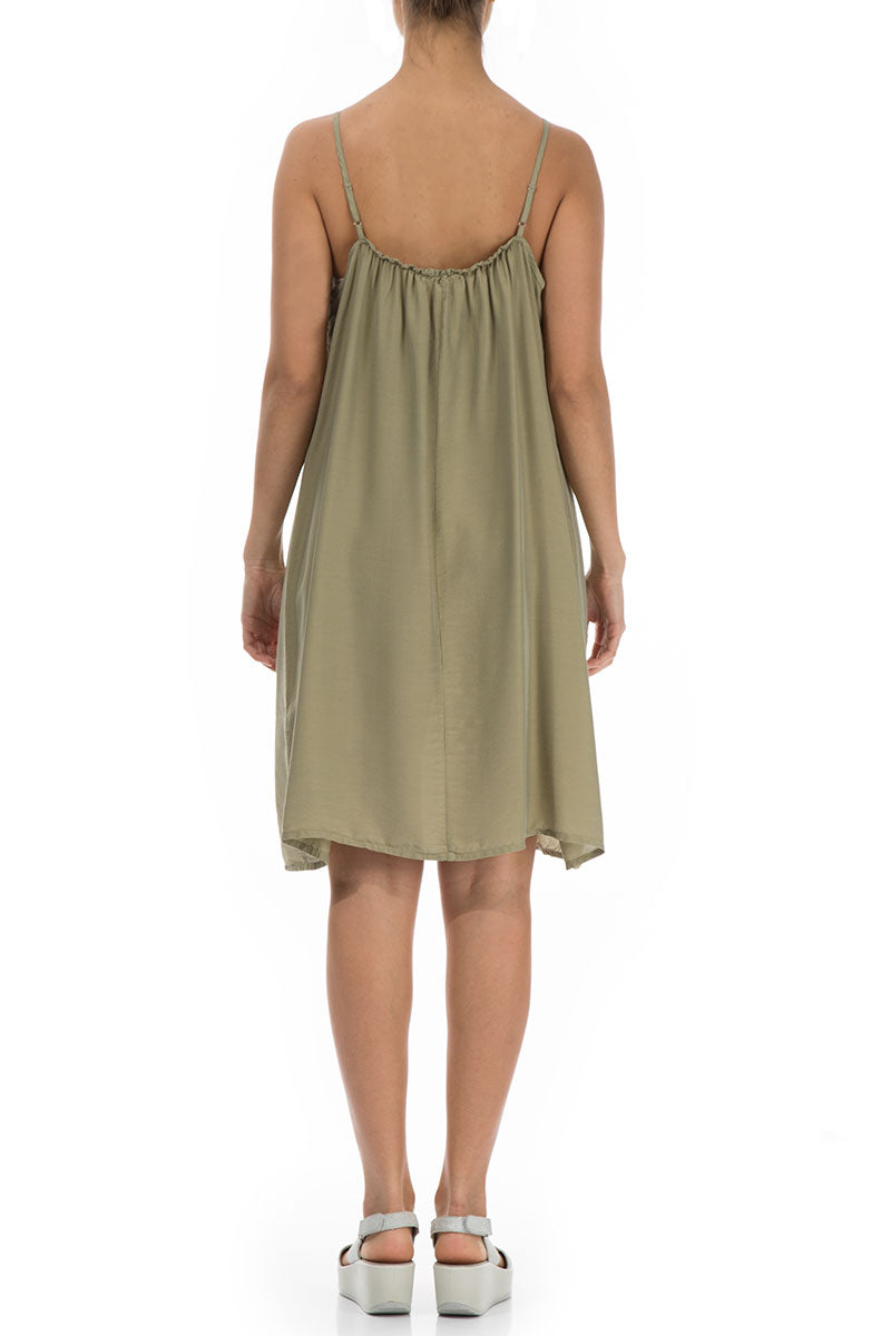Strap Khaki Silk Bamboo Night Dress