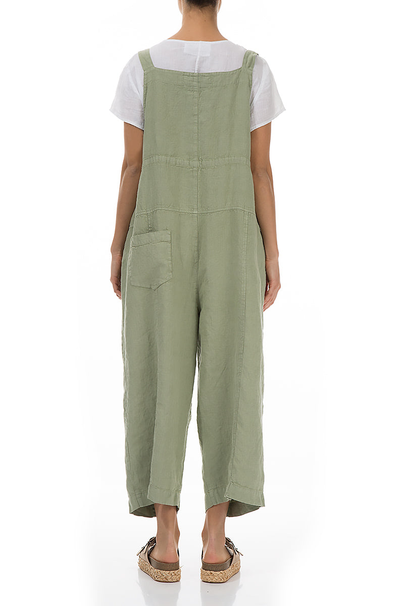 Strappy Olive Linen Jumpsuit
