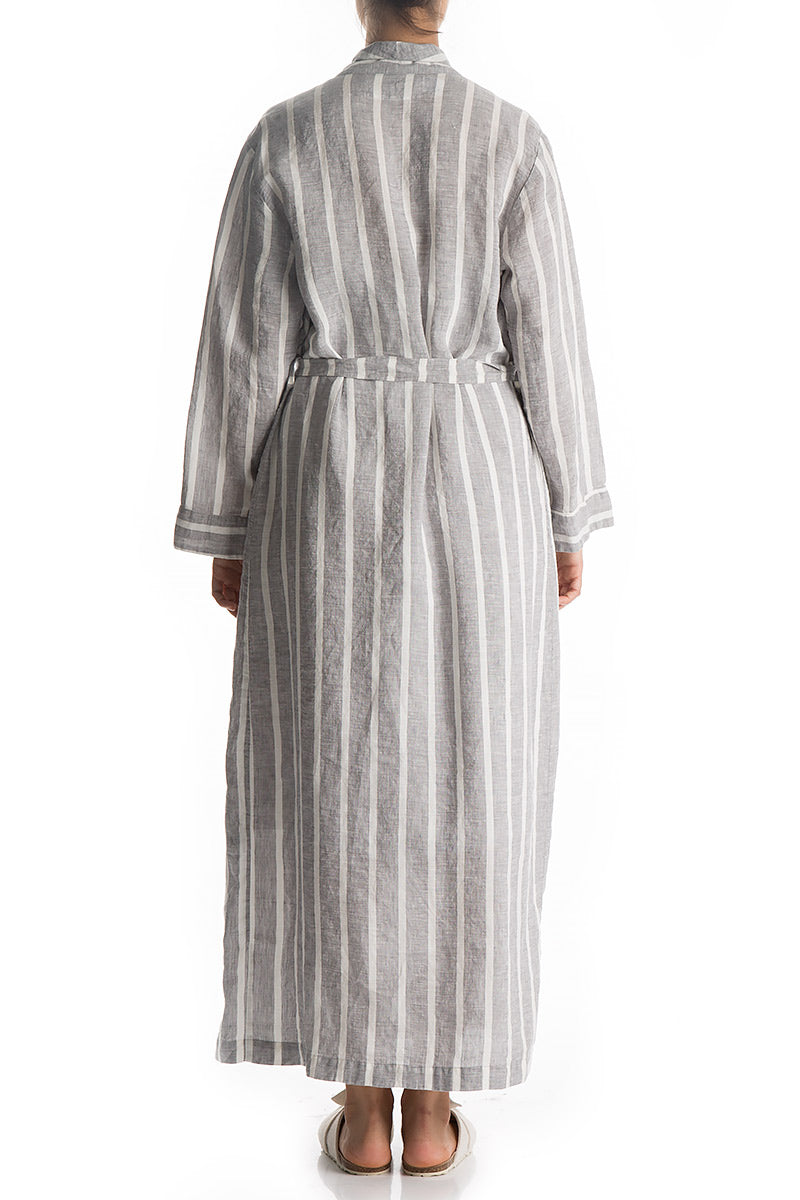 Striped Linen Bath Robe - GRIZAS | Natural Contemporary Womenswear