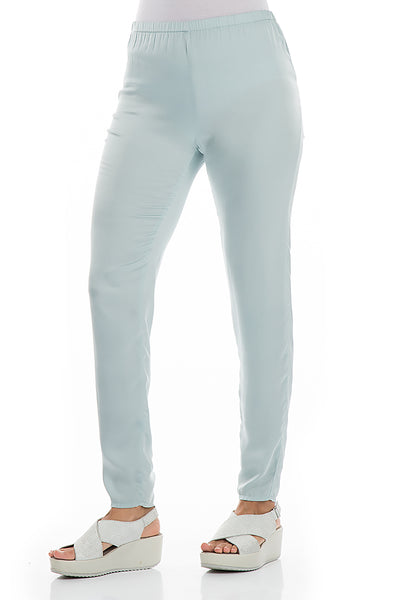 Stylish Aqua Breeze Silk Leggings