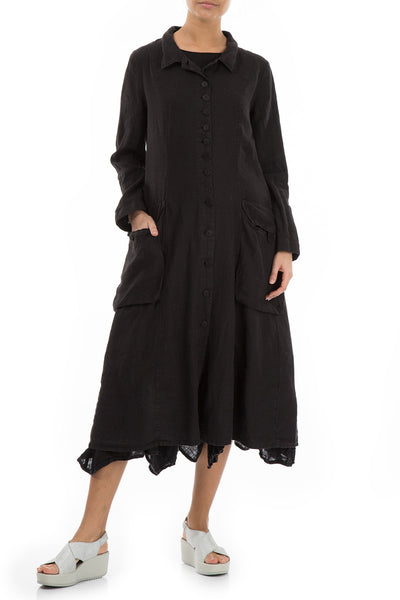Stylish Long Black Linen Jacket - GRIZAS | Natural Contemporary Womenswear