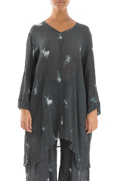 Subtle Abstract Print Silk Viscose Tunic