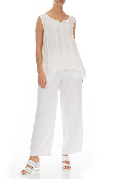 Sweetheart Neck Crinkled White Silk Top