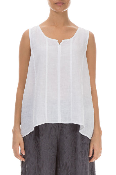 Sweetheart Neck White Linen Top