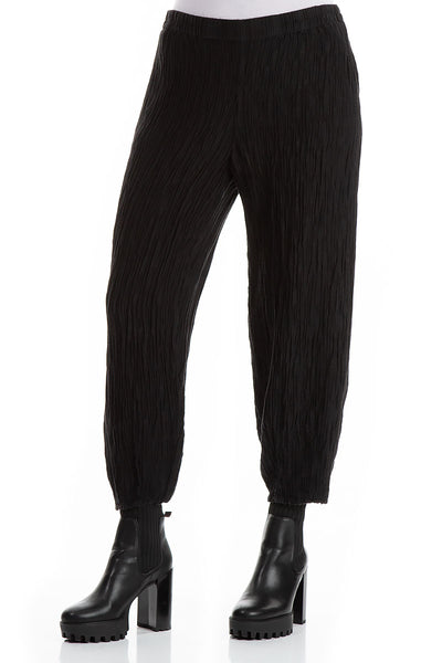 Taper Crinkled Black Silk Linen Trousers
