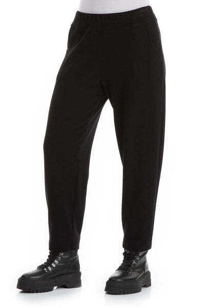 Tapered Black Cotton Jersey Trousers